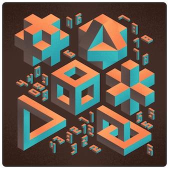 Set van abstracte geometrische 3d-vormen