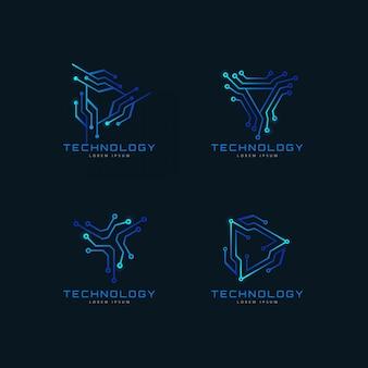 Set van abstracte geometrische circuit tech-logo