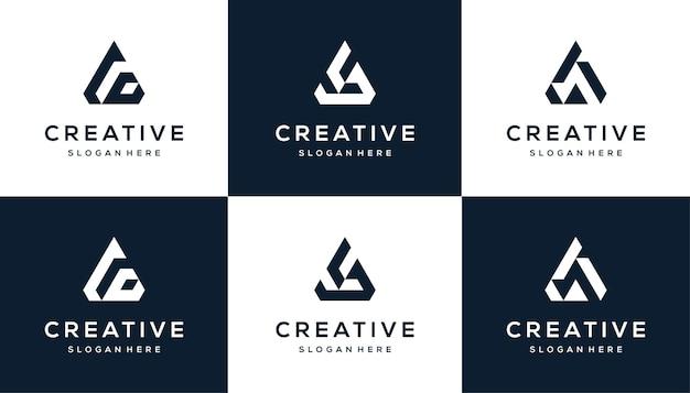 Set van abstracte, geometrische letter a logo ontwerpsjabloon