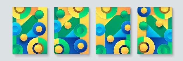 Set van abstracte geometrische minimale vector posters in neo-memphis, bauhaus, vaporwave stijl. verzameling van retro futuristische covers voor clubfeest, muziekconcert, barpromo