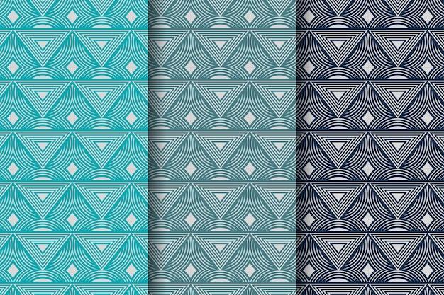 Set van abstracte geometrische naadloze patronen