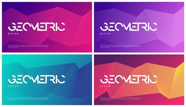 Set van abstracte geometrische ontwerpen met kleurovergang, kleurrijke minimalistische achtergronden.