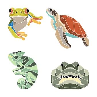 Set van abstracte geometrische reptielen, kikkerschildpad kameleon krokodil, mozaïek dieren