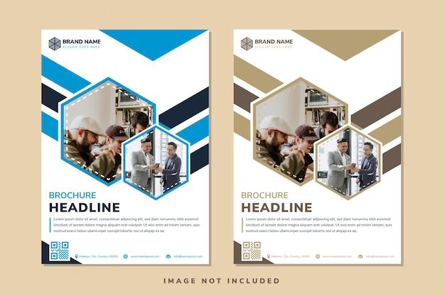 Set van abstracte geometrische verticale flyer sjabloon ontwerp witte achtergrond gecombineerd blauw en goud element zeshoekige vorm voor foto ruimte