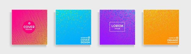 Set van abstracte golvende stippen patroon met roze blauw paars oranje gele levendige kleuren