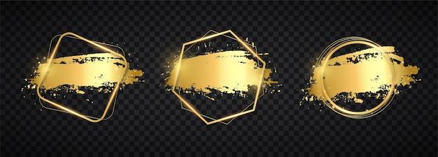 Set van abstracte gouden penseelstreken