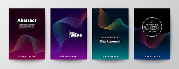 Set van abstracte gradiënt kleurrijke golfvorm op donkere achtergrond.