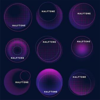 Set van abstracte halftone ontwerpelementen