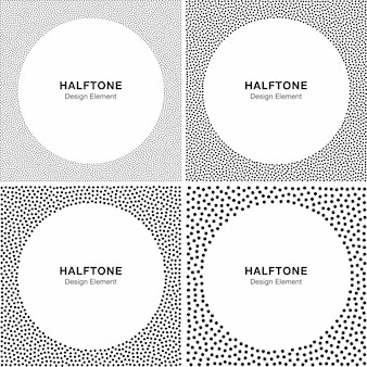Set van abstracte halftoonpunten frame achtergronden. cirkel achtergronden.