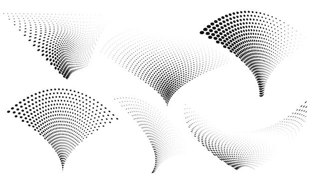 Set van abstracte halftoonstippen, zwart op wit