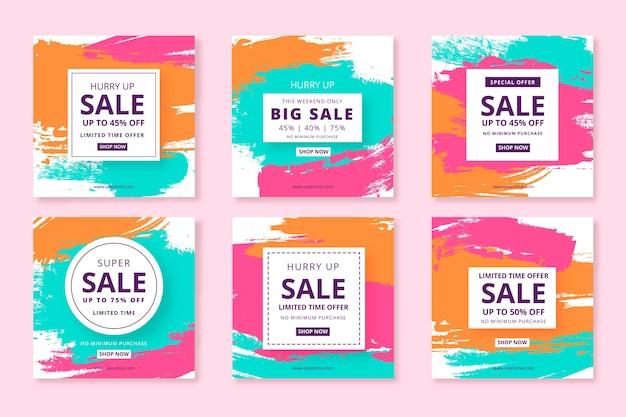 Set van abstracte handgeschilderde verkoop instagram post