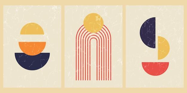 Set van abstracte hedendaagse posters uit het midden van de eeuw met geometrische vormen en textuur. ontwerp voor behang, achtergrond, wand decor, dekking, print, kaart. moderne boho minimalistische kunst. vector illustratie.