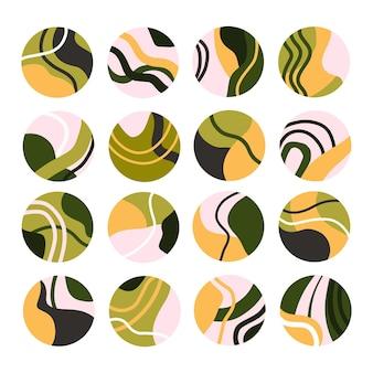 Set van abstracte hoogtepunten van sociale media. verzameling van ronde handgetekende achtergronden. moderne verhalenpictogrammen. vlakke afbeelding