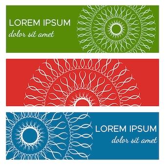 Set van abstracte horizontale kopbanners met geometrische cirkelvormige elementen en plaats voor tekst. kleurrijke achtergronden voor webdesign. vector illustratie