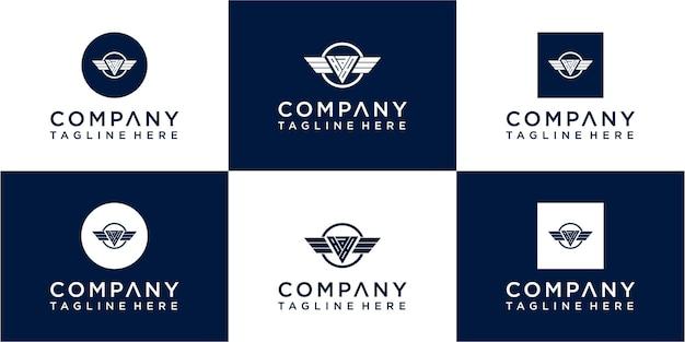 Set van abstracte initiële monogram logo-ontwerppictogrammen voor zaken van luxe-elegant en willekeurig