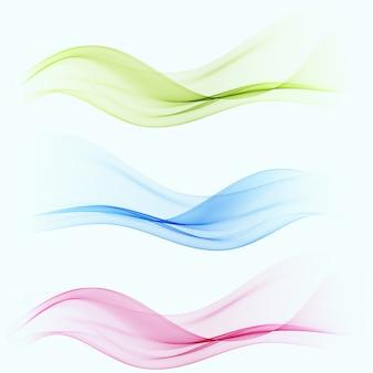 Set van abstracte kleur golf rook transparant blauw, roze, groen golvend
