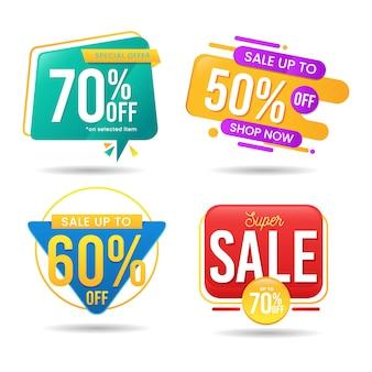 Set van abstracte kleurrijke banner verkoop vector