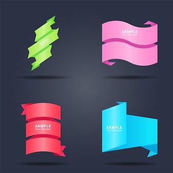 Set van abstracte kleurrijke origami papier en linten banners