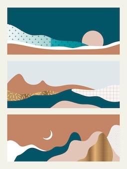 Set van abstracte landschappen