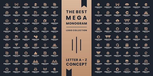 Set van abstracte letter a tot z, monogram symbool, pictogram, alfabet logo ontwerp monogram