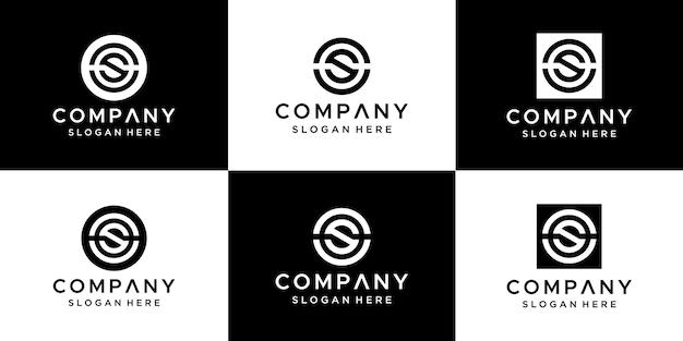 Set van abstracte letter cs logo ontwerp.