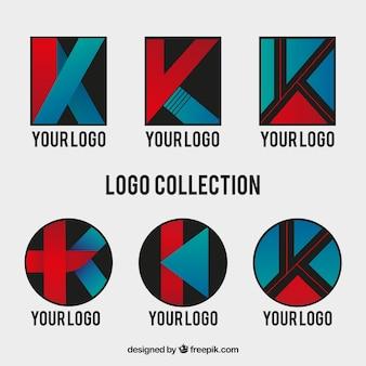 Set van abstracte letter k logo's