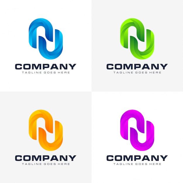 Set van abstracte letter n logo