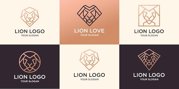 Set van abstracte lijntekeningen leeuw logo premium vector