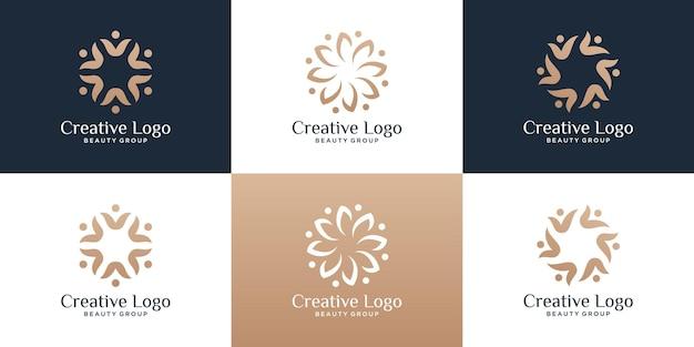 Set van abstracte luxe mensen familie en menselijke eenheid symbool voor teamwerk en team groepslogo sjabloon