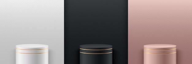 Set van abstracte luxe ronde display. 3d-rendering geometrische vorm wit zwart en rose gouden kleur.