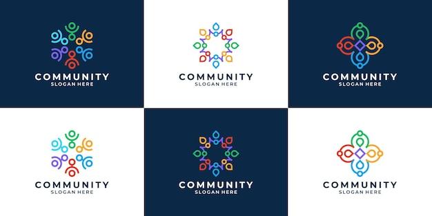 Set van abstracte mensen samen familie eenheid logo Premium Vector