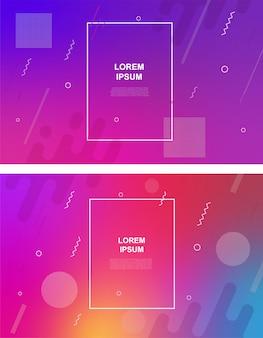 Set van abstracte minimalistische achtergrond met geometrische elementen, dynamische vormen, lijnen. gradiënt abstracte banners met vloeiende vloeibare vormen. Premium Vector