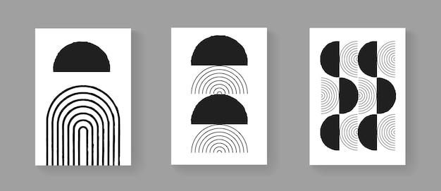 Set van abstracte minimalistische handgeschilderde kunst posters. vintage compositie uit het midden van de eeuw. scandinavische illustratie voor ansichtkaarten, covers en brochures.