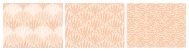 Set van abstracte minimalistische naadloze patronen in boho-stijl met hand getrokken stippen en bladeren