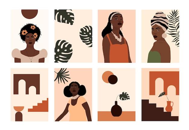 Set van abstracte moderne afro-amerikaanse vrouw gezichten portretten artistieke trendy poster