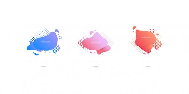 Set van abstracte moderne grafische elementen, dynamisch gekleurde vormen en lijn.