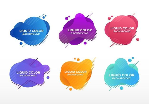 Set van abstracte moderne grafische elementen. vlakke geometrische vloeibare vorm met verloopkleuren. moderne sjabloon, sjabloon voor het ontwerpen van een logo, flyer of presentatie.