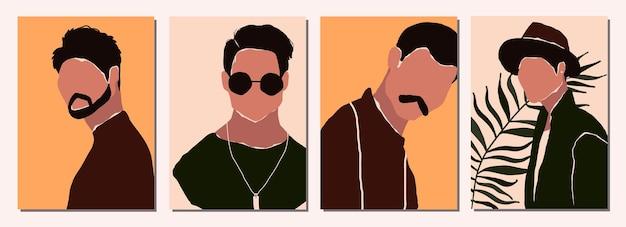Set van abstracte moderne portretten van mannelijke personages
