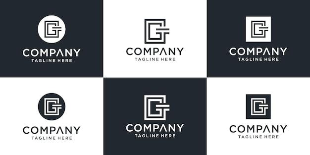Set van abstracte monogram briefsjabloon gt logo. pictogrammen voor zaken, gebouwen, auto's, eenvoudig.