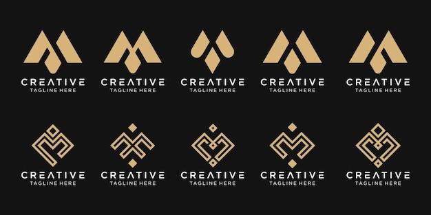 Set van abstracte monogram eerste m logo sjabloon.