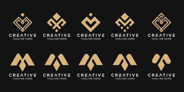 Set van abstracte monogram eerste m-logo sjabloon.
