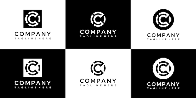 Set van abstracte monogram letter c logo ontwerp.