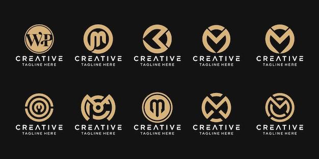 Set van abstracte monogram letter m logo sjabloon. pictogrammen voor zaken van mode, sport, auto, eenvoudig. Premium Vector