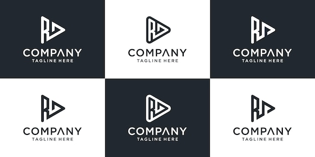 Set van abstracte monogram letter rd logo sjabloon. pictogrammen voor bedrijven, video's, gebouwen, technologie.