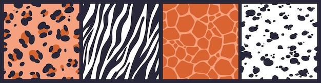 Set van abstracte naadloze patronen met de textuur van de huid van een proefdier. luipaard, giraf, zebra, dalmatische huidprint.