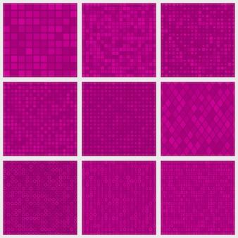 Set van abstracte naadloze patronen van kleine elementen of pixels van verschillende vormen in paarse kleuren