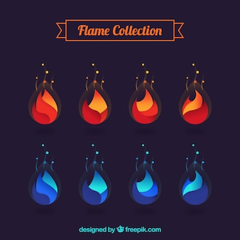 Set van abstracte oranje en blauwe vlammen
