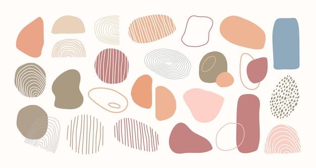 Set van abstracte organische vorm. hand getrokken doodle kunst. vector klodder