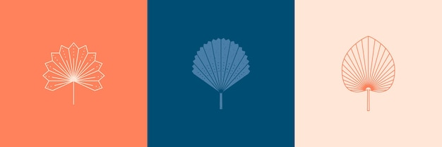 Set van abstracte palmbladeren in een trendy minimale lineaire stijl. vector tropisch blad boho embleem. bloemenillustratie voor het maken van logo, patroon, t-shirtafdrukken, tatoeage, post op sociale media en verhalen