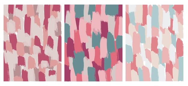Set van abstracte penseelstreek achtergronden